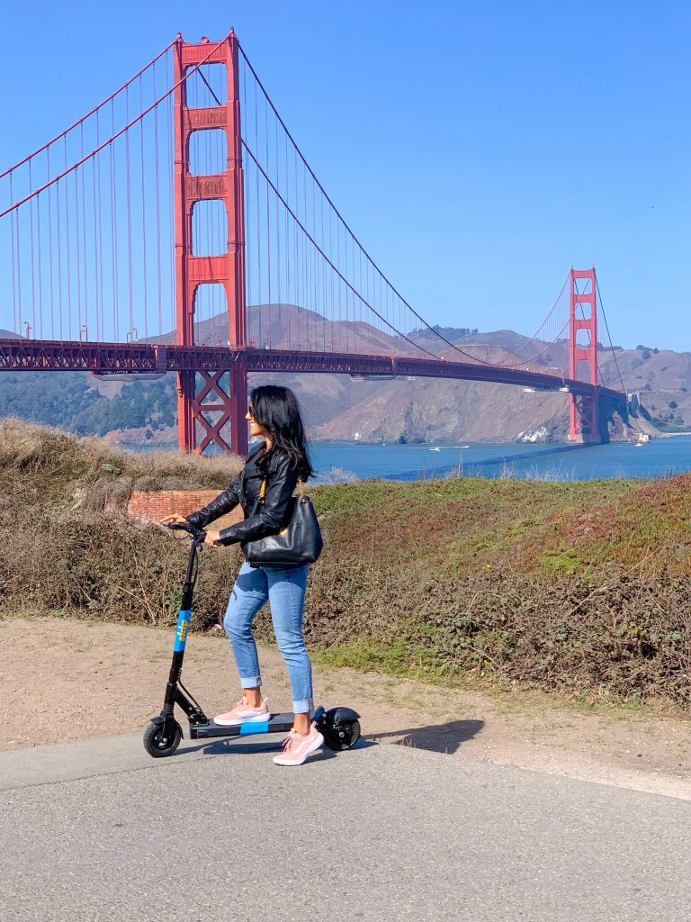 Riding Skip Scooters, What to do in SF, San Francisco, Golden Gate Bridge, Alt Transportation, Influencer, Travel Blogger
