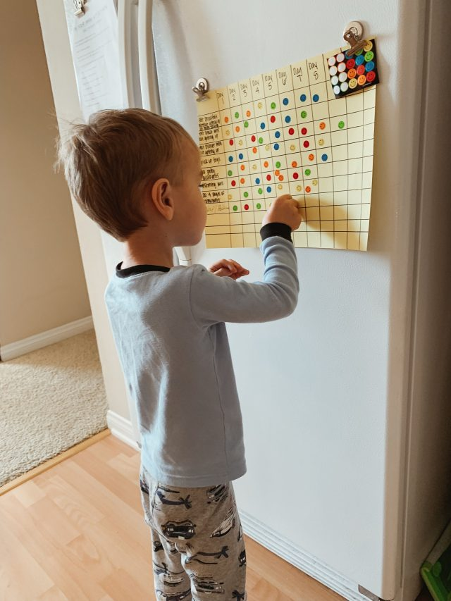 Using a sticker chart for your toddler to promote better behavior through positive reinforcement via www.katelynnansari.com -- #ToddlerBehavior #ToddlerAttitude #ToddlerLife #MomLife #StickerCharts