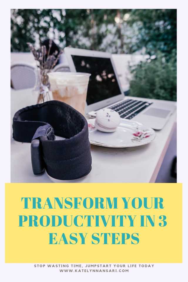 Increase Productivity in 3 Easy Steps via www.KatelynnAnsari.com #Productivity #BetterAtWork #MorePorductive #BrainFog #MoreAwake #WakeUpFaster #TimeAndEnergy
